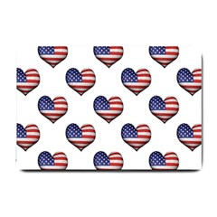 Usa Grunge Heart Shaped Flag Pattern Small Doormat