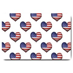 Usa Grunge Heart Shaped Flag Pattern Large Doormat