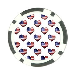 Usa Grunge Heart Shaped Flag Pattern Poker Chip Card Guards (10 pack)