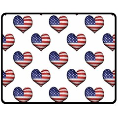 Usa Grunge Heart Shaped Flag Pattern Fleece Blanket (Medium)