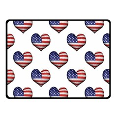 Usa Grunge Heart Shaped Flag Pattern Fleece Blanket (Small)