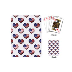 Usa Grunge Heart Shaped Flag Pattern Playing Cards (Mini)