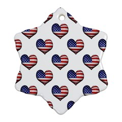Usa Grunge Heart Shaped Flag Pattern Ornament (Snowflake)