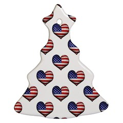 Usa Grunge Heart Shaped Flag Pattern Christmas Tree Ornament (2 Sides)