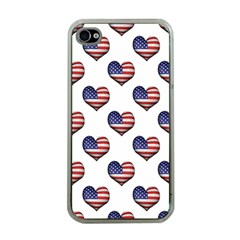 Usa Grunge Heart Shaped Flag Pattern Apple iPhone 4 Case (Clear)