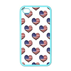 Usa Grunge Heart Shaped Flag Pattern Apple iPhone 4 Case (Color)
