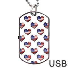 Usa Grunge Heart Shaped Flag Pattern Dog Tag USB Flash (One Side)
