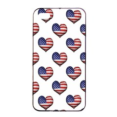 Usa Grunge Heart Shaped Flag Pattern Apple iPhone 4/4s Seamless Case (Black)