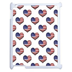 Usa Grunge Heart Shaped Flag Pattern Apple iPad 2 Case (White)