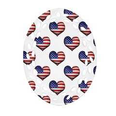 Usa Grunge Heart Shaped Flag Pattern Oval Filigree Ornament (2-Side)
