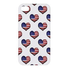 Usa Grunge Heart Shaped Flag Pattern Apple iPhone 4/4S Premium Hardshell Case
