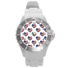 Usa Grunge Heart Shaped Flag Pattern Round Plastic Sport Watch (L)