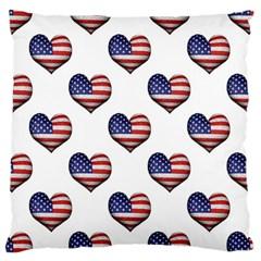 Usa Grunge Heart Shaped Flag Pattern Large Cushion Case (One Side)