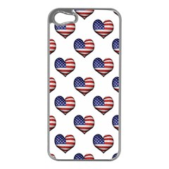 Usa Grunge Heart Shaped Flag Pattern Apple iPhone 5 Case (Silver)