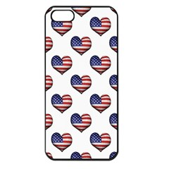 Usa Grunge Heart Shaped Flag Pattern Apple iPhone 5 Seamless Case (Black)