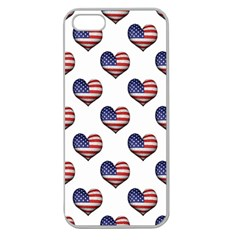 Usa Grunge Heart Shaped Flag Pattern Apple Seamless iPhone 5 Case (Clear)