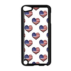 Usa Grunge Heart Shaped Flag Pattern Apple iPod Touch 5 Case (Black)