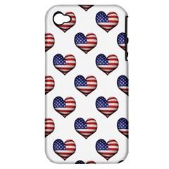 Usa Grunge Heart Shaped Flag Pattern Apple iPhone 4/4S Hardshell Case (PC+Silicone)