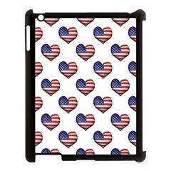 Usa Grunge Heart Shaped Flag Pattern Apple iPad 3/4 Case (Black)