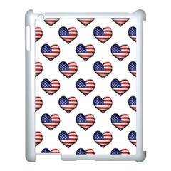 Usa Grunge Heart Shaped Flag Pattern Apple iPad 3/4 Case (White)