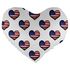Usa Grunge Heart Shaped Flag Pattern Large 19  Premium Heart Shape Cushions