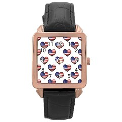 Usa Grunge Heart Shaped Flag Pattern Rose Gold Leather Watch