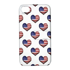 Usa Grunge Heart Shaped Flag Pattern Apple iPhone 4/4S Hardshell Case with Stand