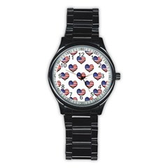 Usa Grunge Heart Shaped Flag Pattern Stainless Steel Round Watch