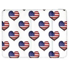 Usa Grunge Heart Shaped Flag Pattern Samsung Galaxy Tab 7  P1000 Flip Case