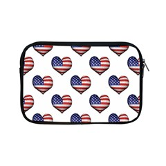 Usa Grunge Heart Shaped Flag Pattern Apple iPad Mini Zipper Cases