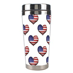 Usa Grunge Heart Shaped Flag Pattern Stainless Steel Travel Tumblers