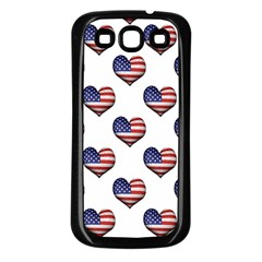 Usa Grunge Heart Shaped Flag Pattern Samsung Galaxy S3 Back Case (Black)
