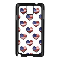 Usa Grunge Heart Shaped Flag Pattern Samsung Galaxy Note 3 N9005 Case (Black)