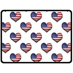 Usa Grunge Heart Shaped Flag Pattern Double Sided Fleece Blanket (Large)