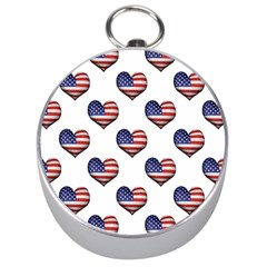 Usa Grunge Heart Shaped Flag Pattern Silver Compasses