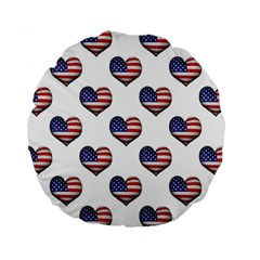 Usa Grunge Heart Shaped Flag Pattern Standard 15  Premium Flano Round Cushions