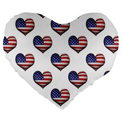 Usa Grunge Heart Shaped Flag Pattern Large 19  Premium Flano Heart Shape Cushions