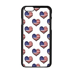 Usa Grunge Heart Shaped Flag Pattern Apple iPhone 6/6S Black Enamel Case
