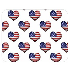 Usa Grunge Heart Shaped Flag Pattern Double Sided Flano Blanket (Medium)