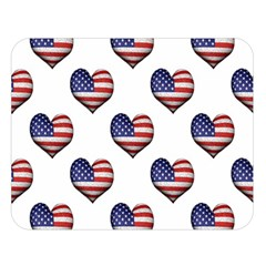 Usa Grunge Heart Shaped Flag Pattern Double Sided Flano Blanket (Large)