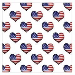 Usa Grunge Heart Shaped Flag Pattern Large Satin Scarf (Square)