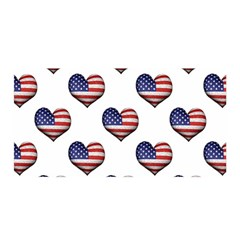 Usa Grunge Heart Shaped Flag Pattern Satin Wrap
