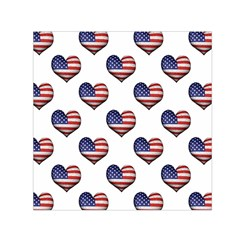 Usa Grunge Heart Shaped Flag Pattern Small Satin Scarf (Square)