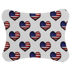 Usa Grunge Heart Shaped Flag Pattern Jigsaw Puzzle Photo Stand (Bow)