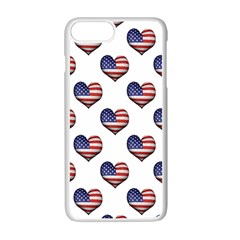 Usa Grunge Heart Shaped Flag Pattern Apple iPhone 7 Plus White Seamless Case