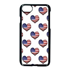 Usa Grunge Heart Shaped Flag Pattern Apple iPhone 7 Seamless Case (Black)