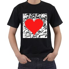Red Valentine 2 Men s T-Shirt (Black) (Two Sided)