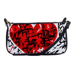 Red hart - graffiti style Shoulder Clutch Bags