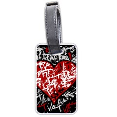 Red graffiti style hart  Luggage Tags (One Side)