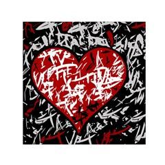 Red graffiti style hart  Small Satin Scarf (Square)